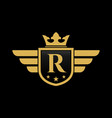 letter r shield wing vector image vector image