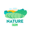 nature farm banner with country fields and sun vector image