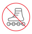 no roller skates thin line icon prohibition vector image vector image