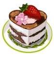 Piece of delicious cake with strawberry and flower vector image vector image