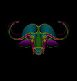 portrait a buffalo in psychedelic color vector image vector image