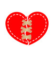 red broken heart wrapped with tape sticky tape vector image vector image