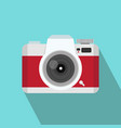 red camera flat style with long shadow vector image vector image