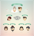 Retro set of wedding icons vector image vector image