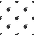 seamless pattern with black silhouettes apples vector image vector image