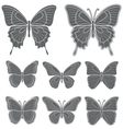 Set of butterflies isolated objects vector image vector image