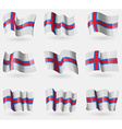 Set of Faroe Islands flags in the air vector image