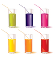 set of glasses with juice and straw vector image