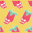 skull strawberry pattern head of skeleton red vector image