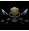 skull with sabers in dark vector image vector image