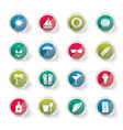 summer and holiday icons over colored background vector image vector image