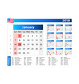 usa calendar 2018 - official holidays and vector image vector image