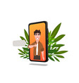 young man character on smartphone screen vector image vector image