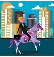 Businessman riding money horse cartoon vector image