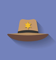 Icon of Sheriff hat Cowboy hat Flat style vector image