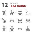 12 chair icons vector image vector image