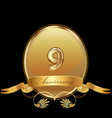 9th golden anniversary birthday seal icon vector image vector image