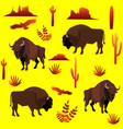 background with bison cacti eagles vector image vector image