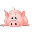 big fat pig lay down vector image vector image