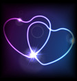 blue purple hearts glowing neon effect abstract vector image vector image