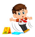 boy slipping on wet floor vector image