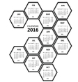 calendar 2016 honeycomb vector image vector image