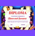 children school diploma with halloween sweets vector image vector image