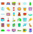 cleaning woman icons set cartoon style vector image vector image