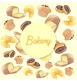 Colorful bakery products pattern background vector image
