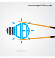 Creative light bulb concept and chopsticks symbol vector image vector image
