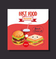 delicious fast food restaurant menu card vector image vector image