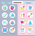 depression symptoms and treatment icons set in vector image