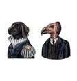 dog officer and california condor gentleman great vector image vector image