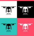 drone with action camera logo icon pictograph vector image vector image
