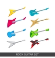 electric and acoustic guitars icon set vector image