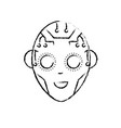 figure head in interface and cyberspace system vector image vector image