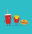 funny french fries with hamburger and cola vector image vector image