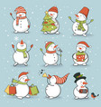 funny snowman set with winter and holiday vector image vector image
