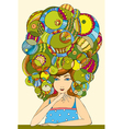 girl hair face vector image vector image
