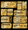 golden tickets old gold admission vip ticket vector image vector image