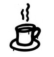 graffiti cup of coffee in black over white vector image vector image