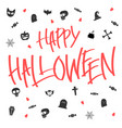 hallween card lettering and icon vector image vector image
