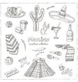 Hand drawn doodle Mexico symbols set vector image vector image