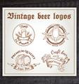 hand drawn vintage set of beer logo on wooden desk vector image vector image