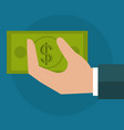 hand with bills dollar money icon vector image