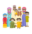 happy extended muslim family with cheerful smile vector image vector image