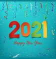 happy new year 2021 colorful paper abstract vector image vector image