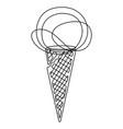 ice-cream cone continuous line vector image vector image
