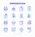 immigration thin line icons set vector image