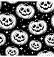 monochrome seamless pattern halloween pumpkins vector image